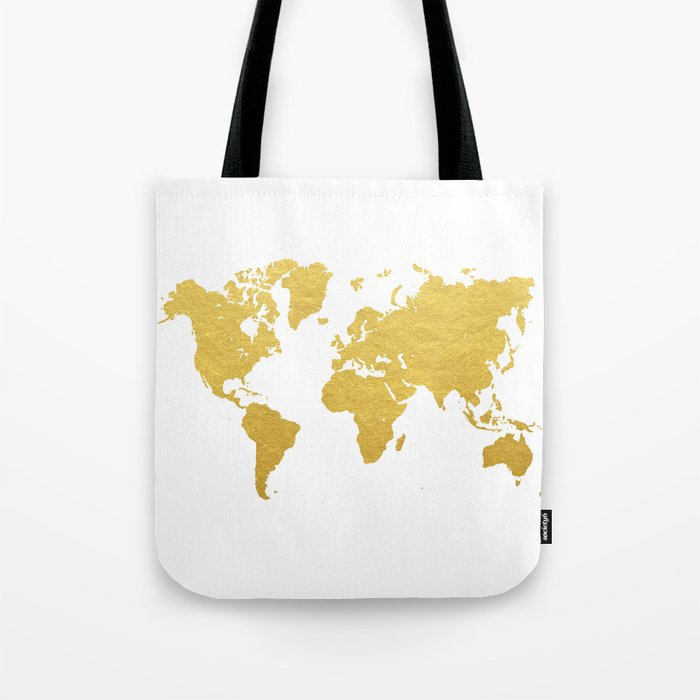 Gold World Map Tote Bag by bysamantha | Society6