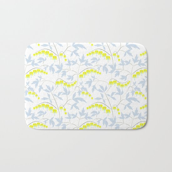Floral pattern in yellow, blue, bright tone . Bath Mat