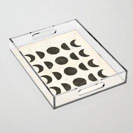 Moon Phases - Black on Cream Acrylic Tray