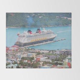 View of our ship Tortola Throw Blanket