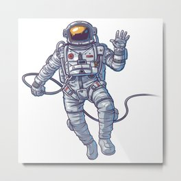 ASTRONAUT FLOATING IN SPACE ILLUSTRATION Metal Print