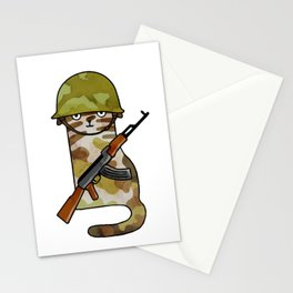 Infantry Fighter Cat Stationery Cards