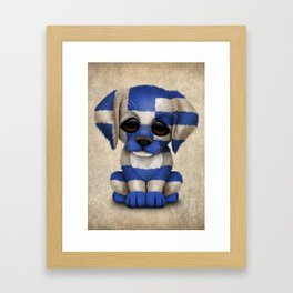 Cute Puppy Dog with flag of Greece Framed Art Print