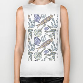 Collection of traditional Portuguese icons in seamless pattern. Biker Tank
