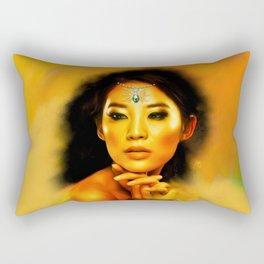 Green Eyed Beauty Rectangular Pillow