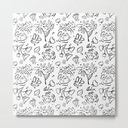 Hand drawn Floral Black White Metal Print