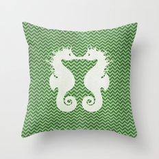 Sea Horse Love Chevron style Throw Pillow