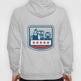 Power Washer Worker Truck Train Crest Retro Hoody