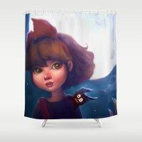 kiki Shower Curtains featuring Kiki & Jiji by Leanne Huynh