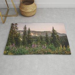 Mount Rainier Wildflower Adventure VII - Pacific Northwest Mountain Forest Wanderlust Rug