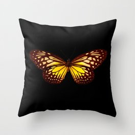 Butterfly - Yellow Brown & Black - Back Lit Glow Throw Pillow