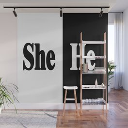 She vs He Wall Mural