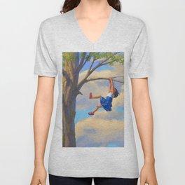 Tree Climbing Girl Unisex V-Neck