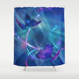 Butterflies and Light Swirls Abstract Shower Curtain
