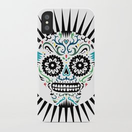 Sugar Skull SF multi -  on white iPhone Case