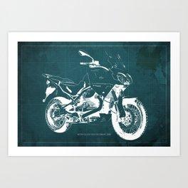 2010 Moto Guzzi Stelvio 1200 4V blue blueprint Art Print