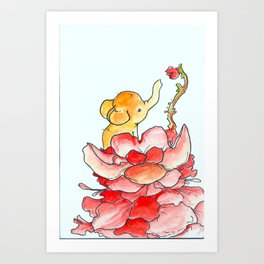 The Mini Elephant and His Bud Art Print