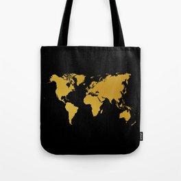 Black Gold World Map Tote Bag