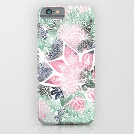 Hand drawn floral mandala pink green garden spring pattern iPhone Case