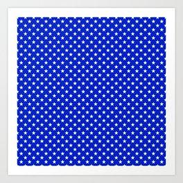 White Stars on Cobalt Blue Art Print