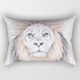 Lion Having Bad Hair Day Mixed Media Art Rectangular Pillow