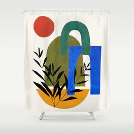 'Garden Gates' Abstract Geometric Shapes Paper Collage Colorful Arrangement Mid Century Modern Cool Funky Style by Ejaaz Haniff Shower Curtain