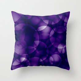 Dark intersecting blueberry translucent circles in bright colors with a mauve glow. Throw Pillow
