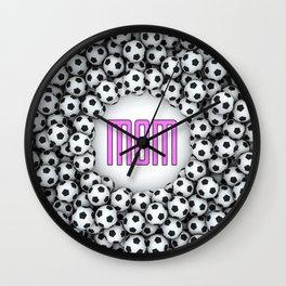 Soccer Mom / 3D render of hundreds of soccer balls framing Mom text Wall Clock