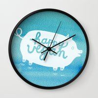 vegan Wall Clocks featuring Happy Vegan by Anke Weckmann