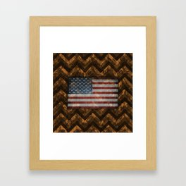 Copper Orange Digital Camo Chevrons with American Flag Framed Art Print