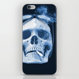 Skull Smoking Cigarette Blue iPhone Skin