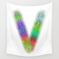 letter Wall Tapestries featuring Letter V by David Zydd