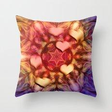 Hot hearts on volcanic kaleidoscope Throw Pillow