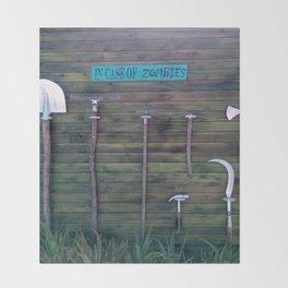 In Case Of Zombies Garden Nightmare Humor Throw Blanket