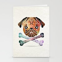pug Stationery Cards featuring pug by Manoou