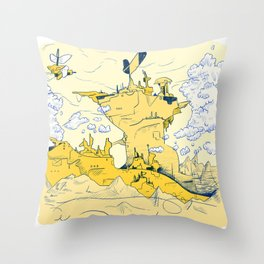 Hive City in the Mountains Throw Pillow