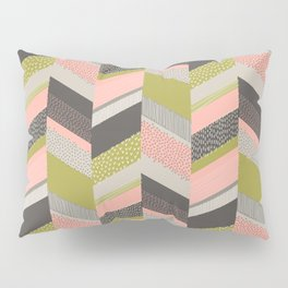 Chevron with Textures / Rose and Green Pillow Sham