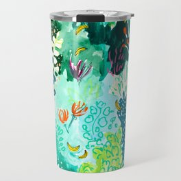Twice Last Wednesday: Abstract Jungle Botanical Painting Travel Mug