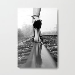 Little Black Pump Stilettos black and white photography - photographs - photograph Metal Print