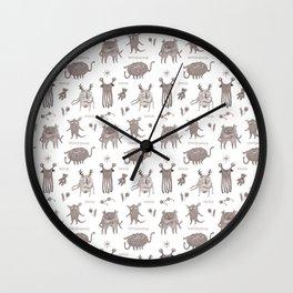Cute Monster crew pattern, hand drawn Wall Clock