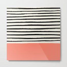 Coral x Stripes Metal Print