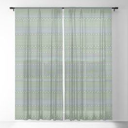 Green with Stripes and Dots Sheer Curtain