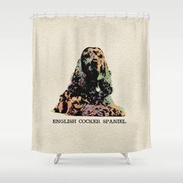 English Cocker Spaniel Dog Digital Art Shower Curtain