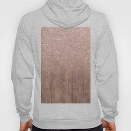 Modern faux rose gold glitter ombre brown rustic wood color block Hoody