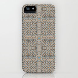 Beige and Blue Mosaic Pattern iPhone Case