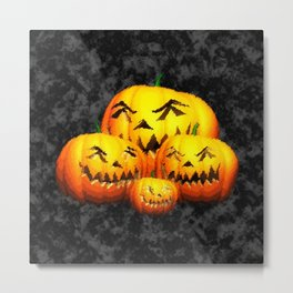 Cute Pumpkin Family Metal Print