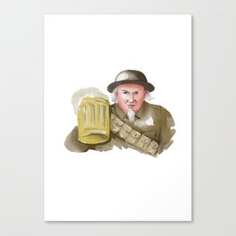 Uncle Sam WW1 Soldier Toasting Beer Watercolor Canvas Print