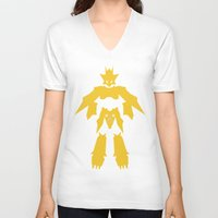 digimon V-neck T-shirts featuring Magnamon by JHTY