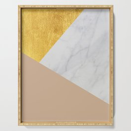 Carrara Marble with Gold and Pantone Hazelnut Color Serving Tray