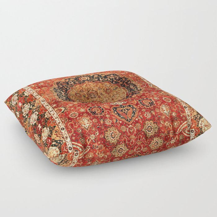 Seley 16th Century Antique Persian Carpet Print Floor Pillow